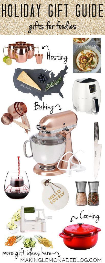 For the foodies, chefs, hosts, and hostesses on your list: this gift guide for foodies has this year's TOP GIFTS for those who love to cook or entertain!
