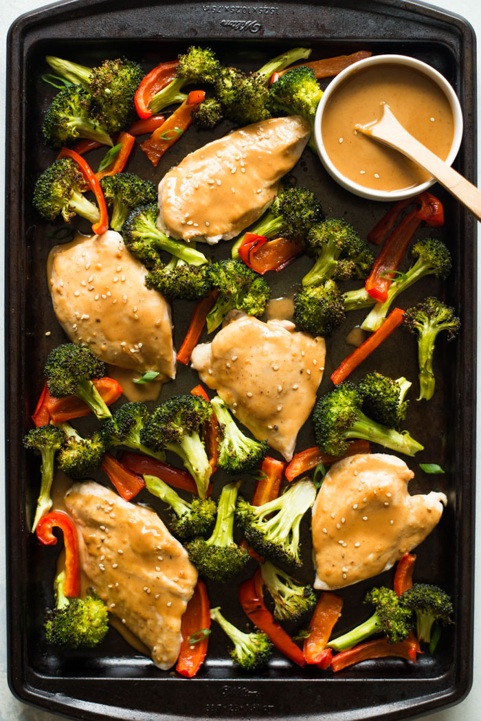Chicken sheet pan dinner with peanut sauce