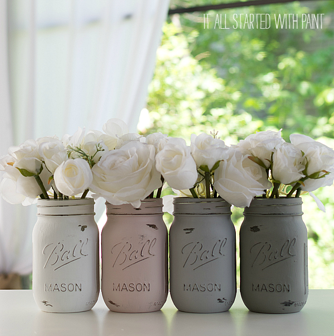 distressed mason jars