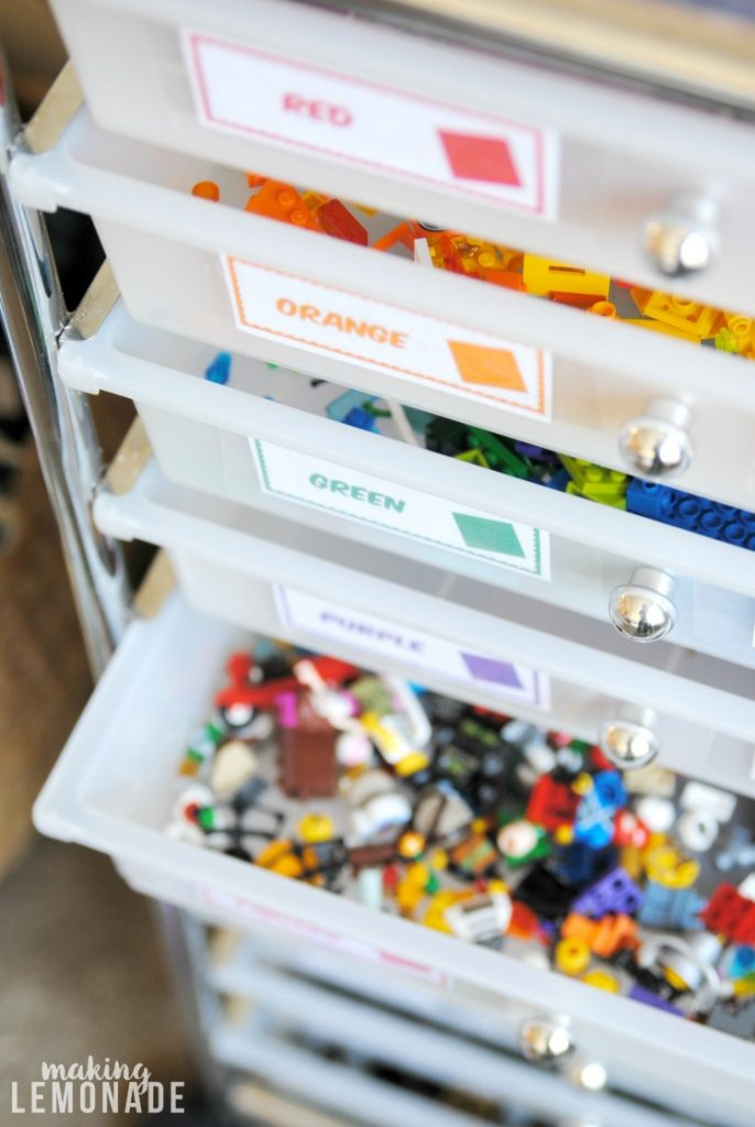 Woah, tons of easy LEGO storage and organization ideas here! Especially love the free printable labels for the rolling LEGO organizer!