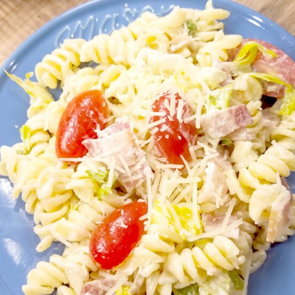 delicious BLT pasta salad recipe, perfect for summer parties and cookouts!
