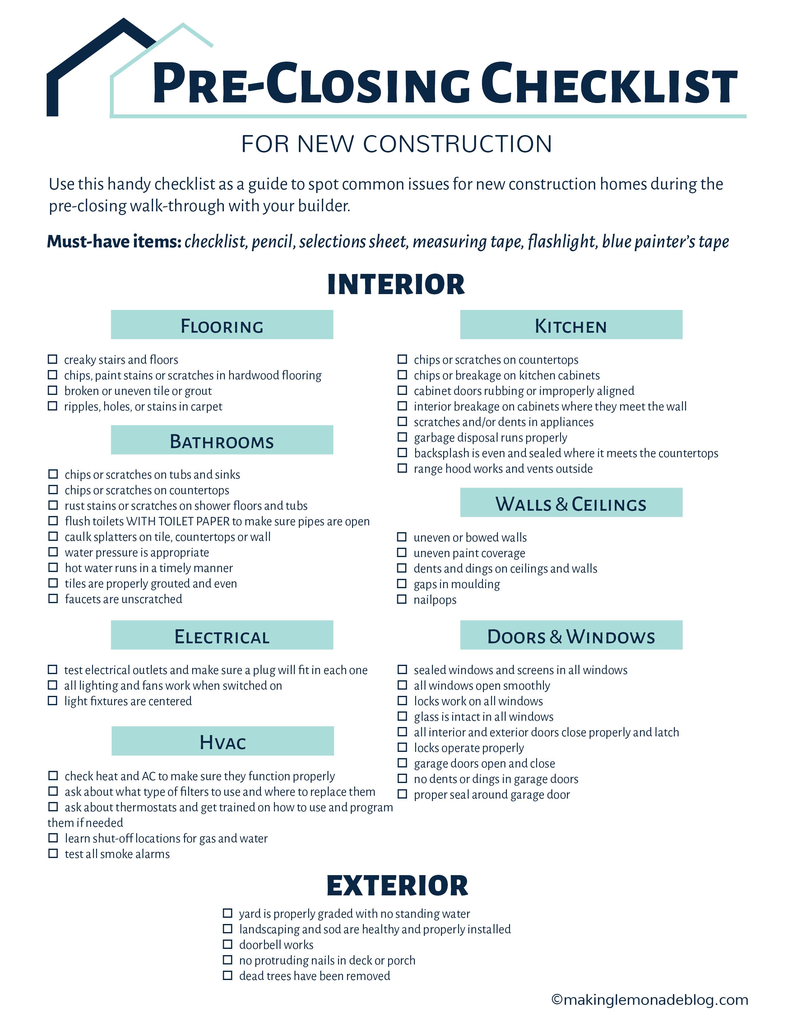 Building A House Grab This Free Checklist Making Lemonade