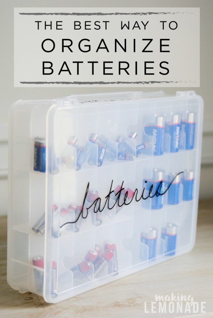 Such a clever way to organize batteries so you never run out. I love organization hacks!