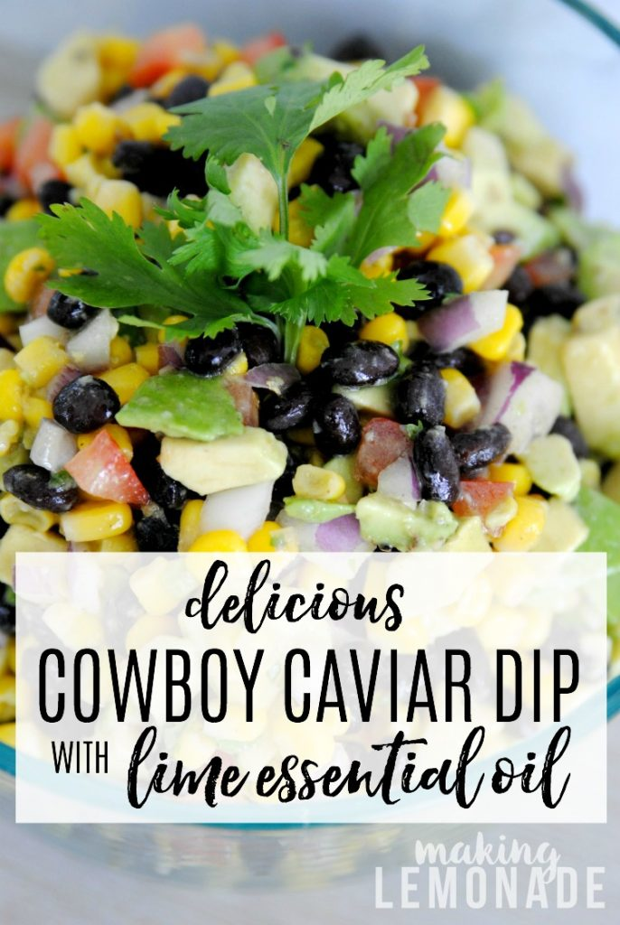 delicious Cowbow Caviar dip with lime essential oil dressing