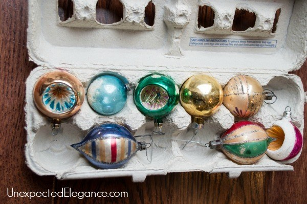 egg carton ornament storage