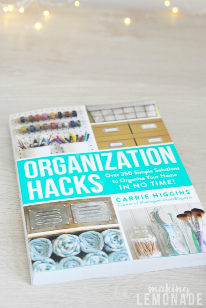 organization hacks book with fairy lights