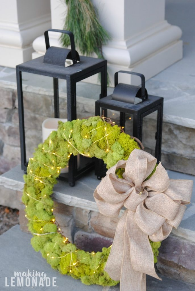 festive front porch DIY holiday decorations and fairy light moss wreath tutorial!