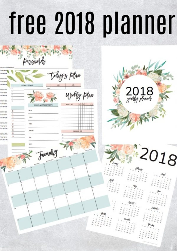 Get Your Free 2018 Printable Planner (with Daily, Weekly & Monthly Planners!)