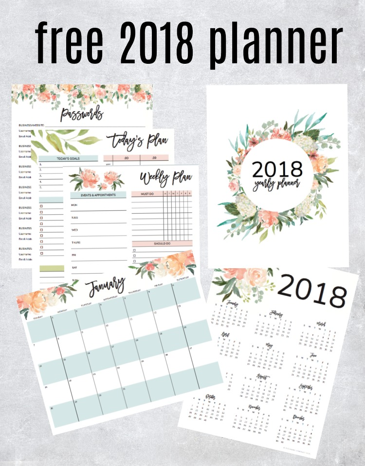picture relating to Free Printable Planners named Attain Your Free of charge 2018 Printable Planner (with Every day, Weekly