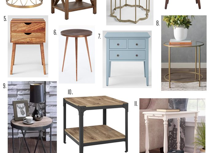 Check out this end table roundup including mid-century modern, traditional, transitional, contemporary and industrial styles!