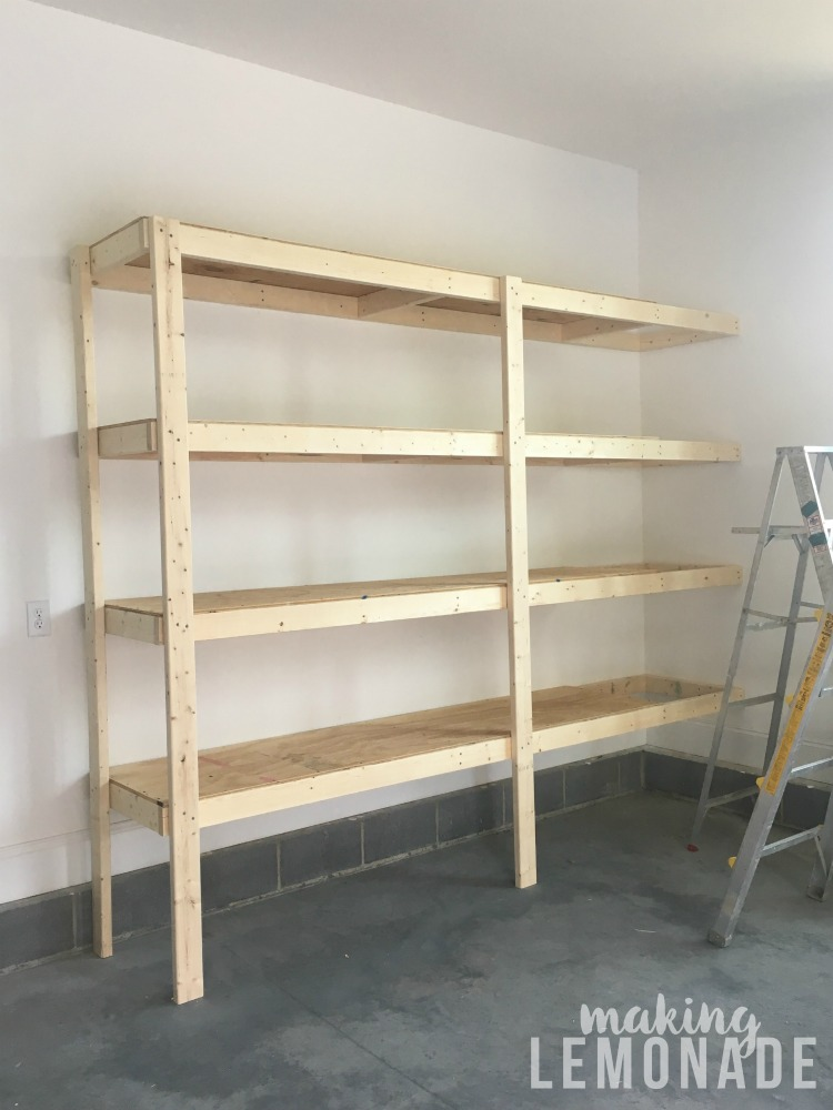 garage organization ideas: DIY garage shelves