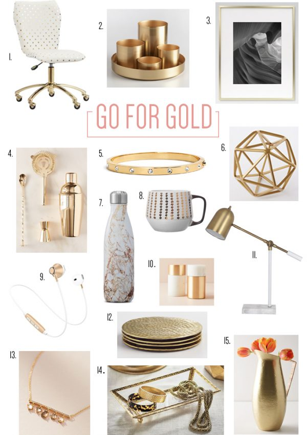 Check out this gorgeous gold themed roundup of jewelry, decorations and other trendy finds to make your home decor and core wardrobe shine!