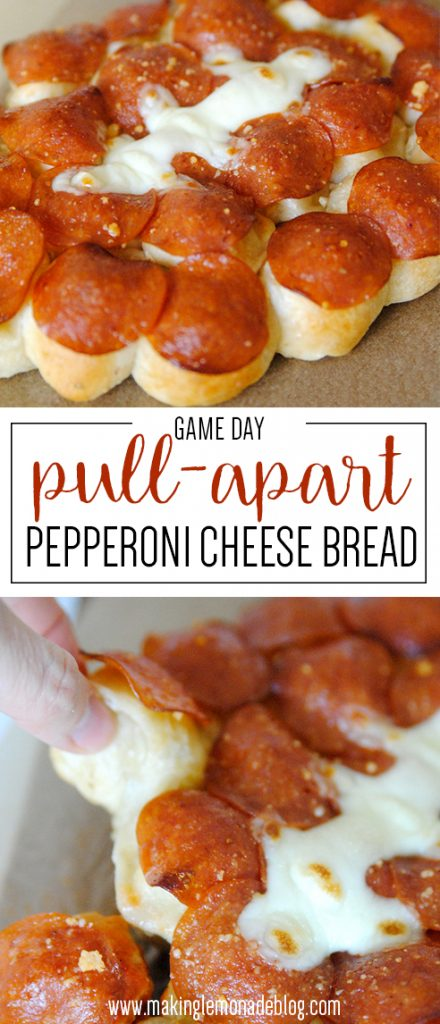 OMG this game day pull-apart pepperoni cheese bread look AMAZING! Making this for our superbowl party!