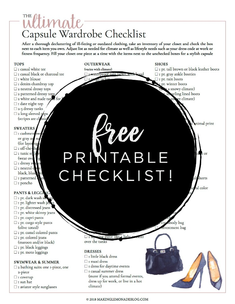 photo regarding Take What You Need Printable identified as No cost Printable Capsule Wardrobe List Manufacturing Lemonade