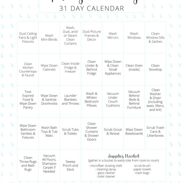 love this easy to use free printable spring cleaning calendar with helpful cleaning hacks!