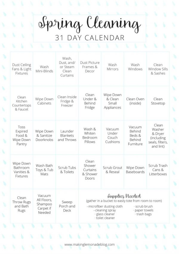 Free Printable Spring Cleaning Calendar