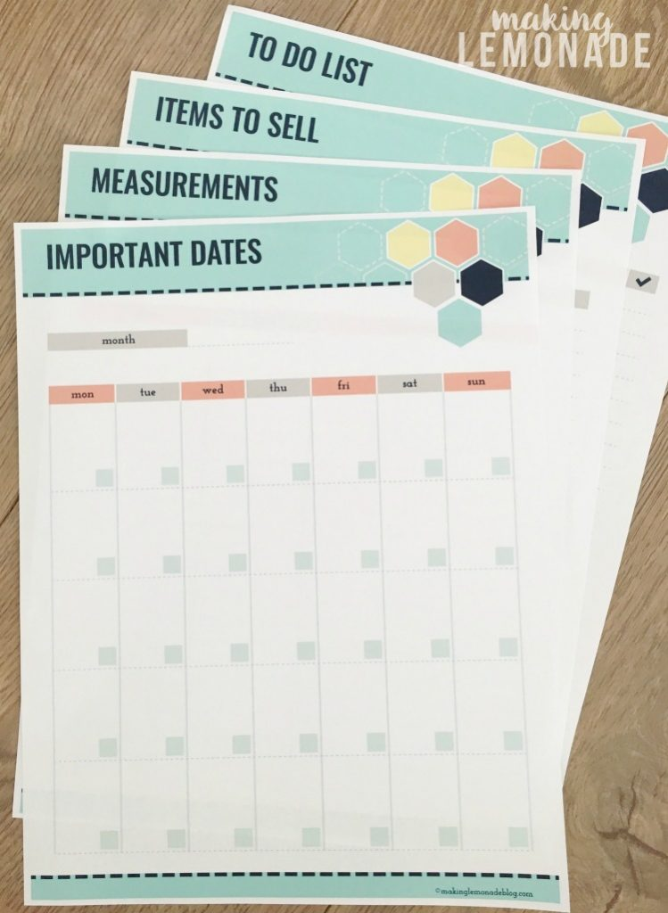 free printables for an organized move