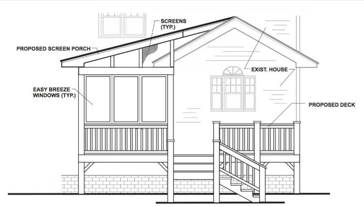 screened porch and deck plans