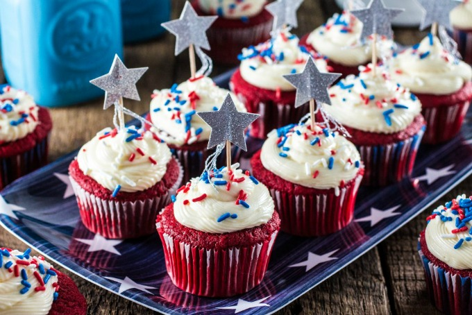 Patriotic Red Velvet Cupcakes from Olivia's Cuisine