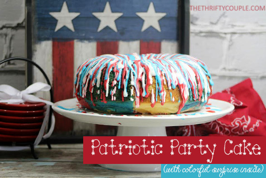 Patriotic Party Cake from The Thrifty Couple
