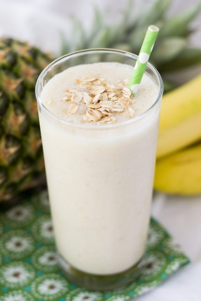Pineapple Banana Breakfast Smoothie from One Crazy House