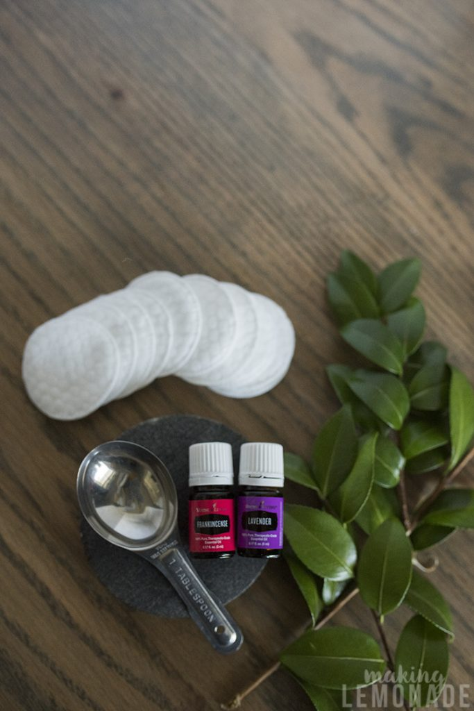 DIY makeup wipes with essential oils