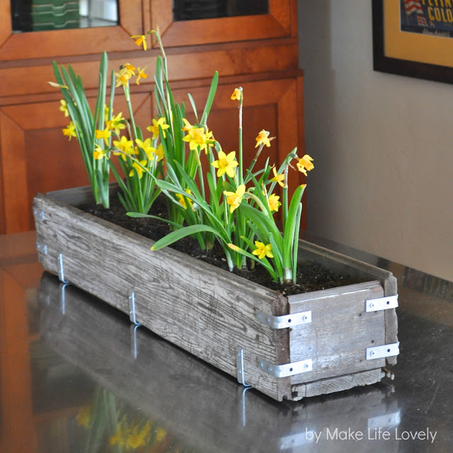 rustic wood planter box