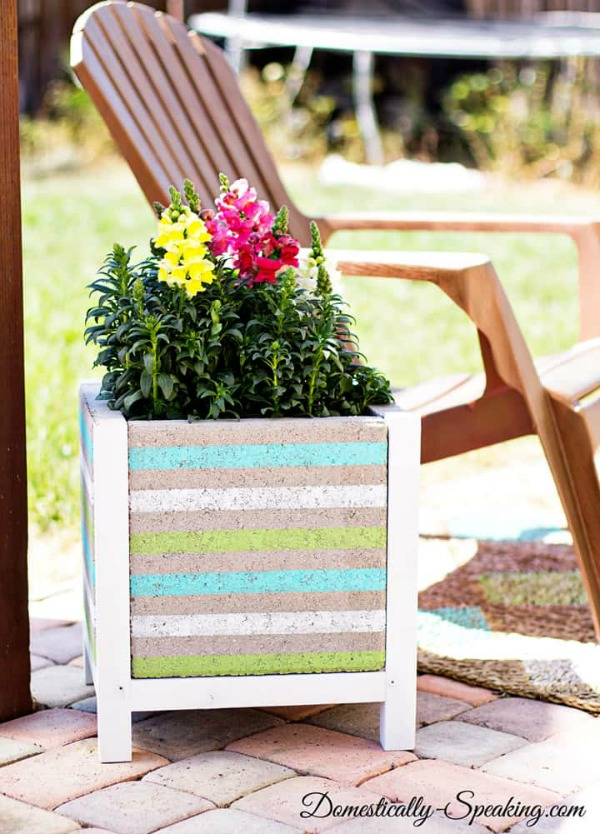 striped paver planter