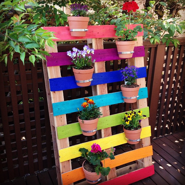 upcycled rainbow pallet planter