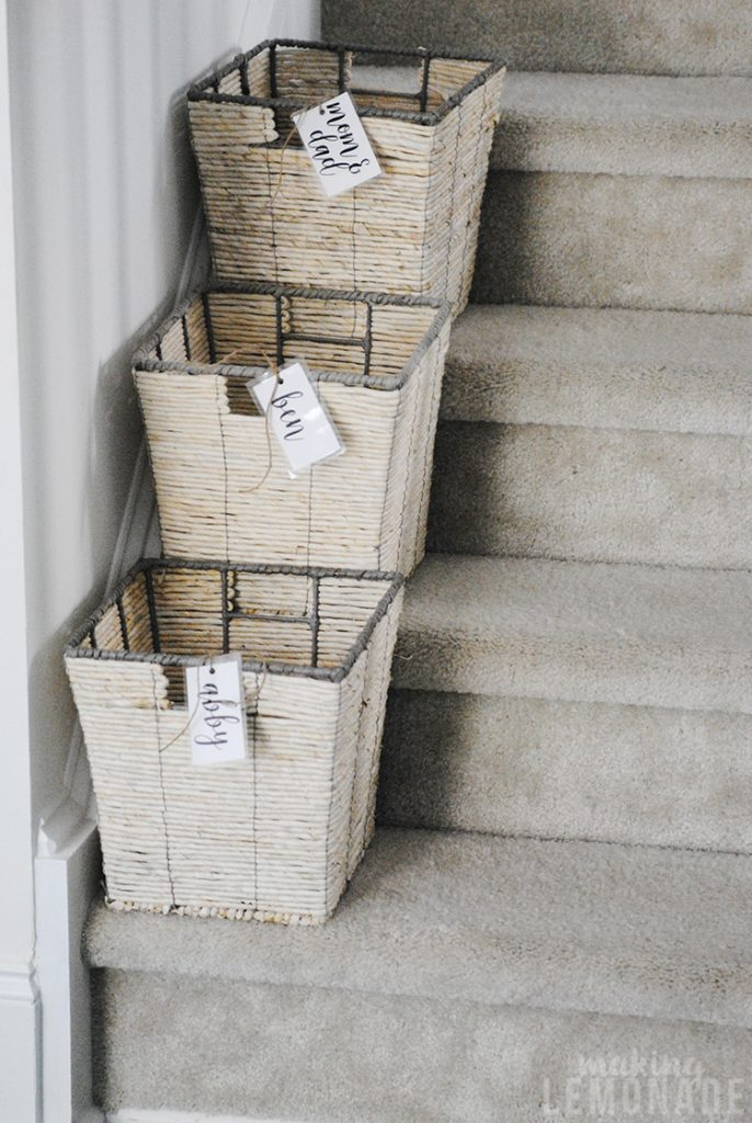 baskets on stairs