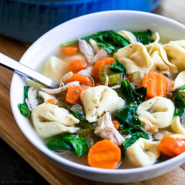 Rotisserie chicken tortellini soup