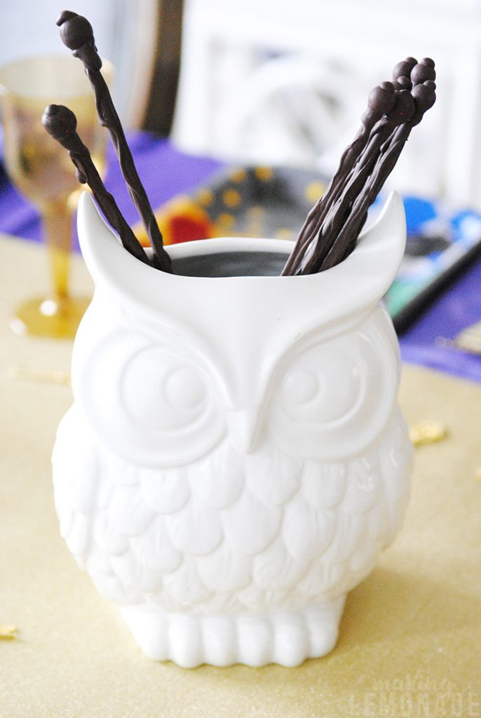 owl vase with wands