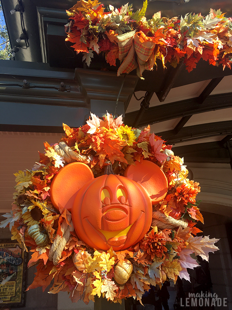 Mickey pumpkin decoration at Disney World