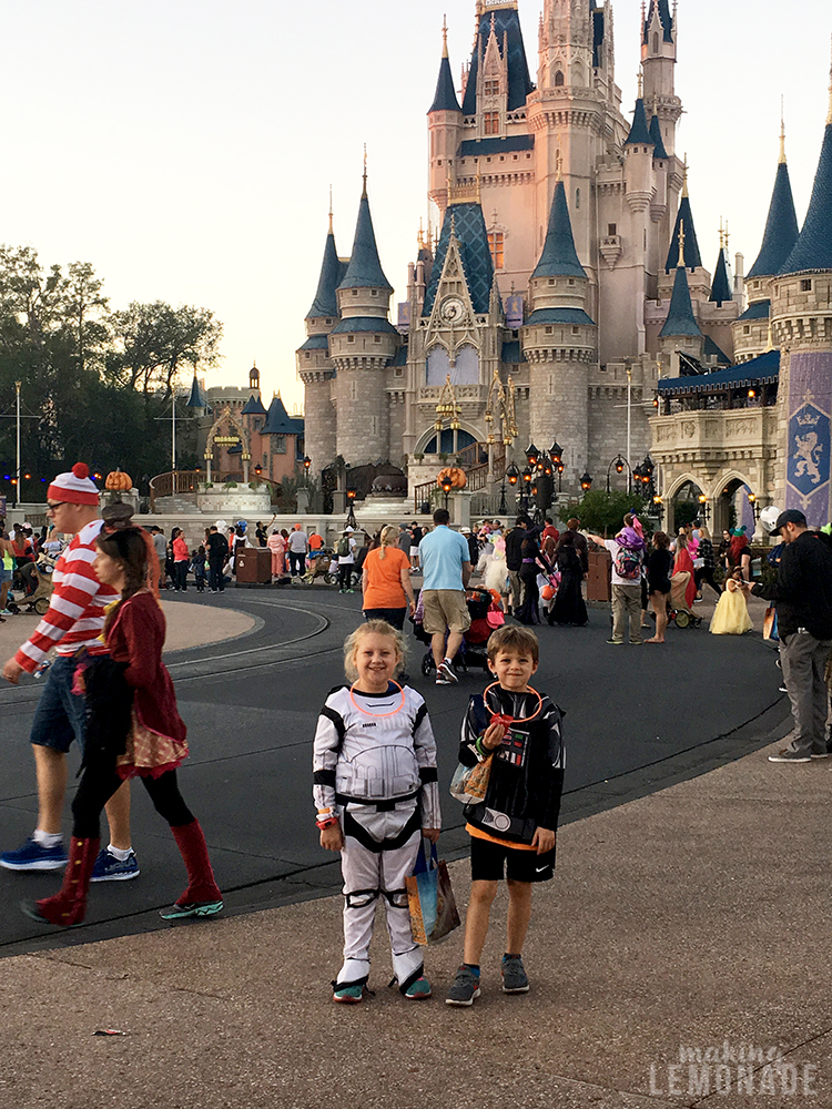 kids in front of Cinderella's castle