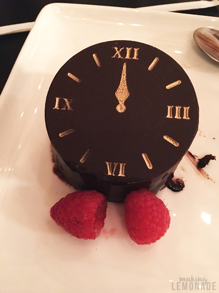 clock dessert at Cinderella's Royal Table