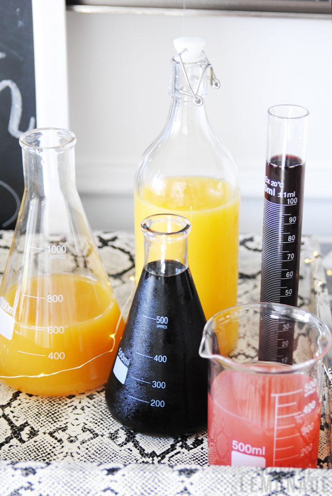 beakers with juice