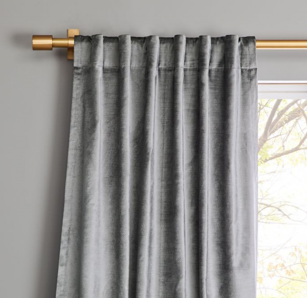 gray velvet curtains