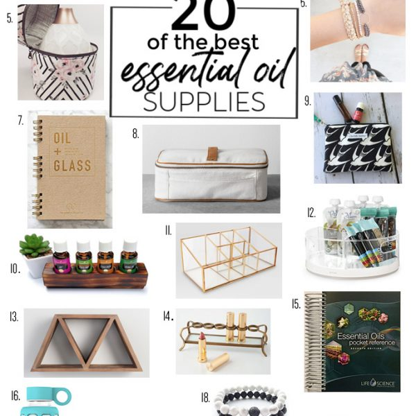 collage of 20 of the best essential oil accessories and supplies