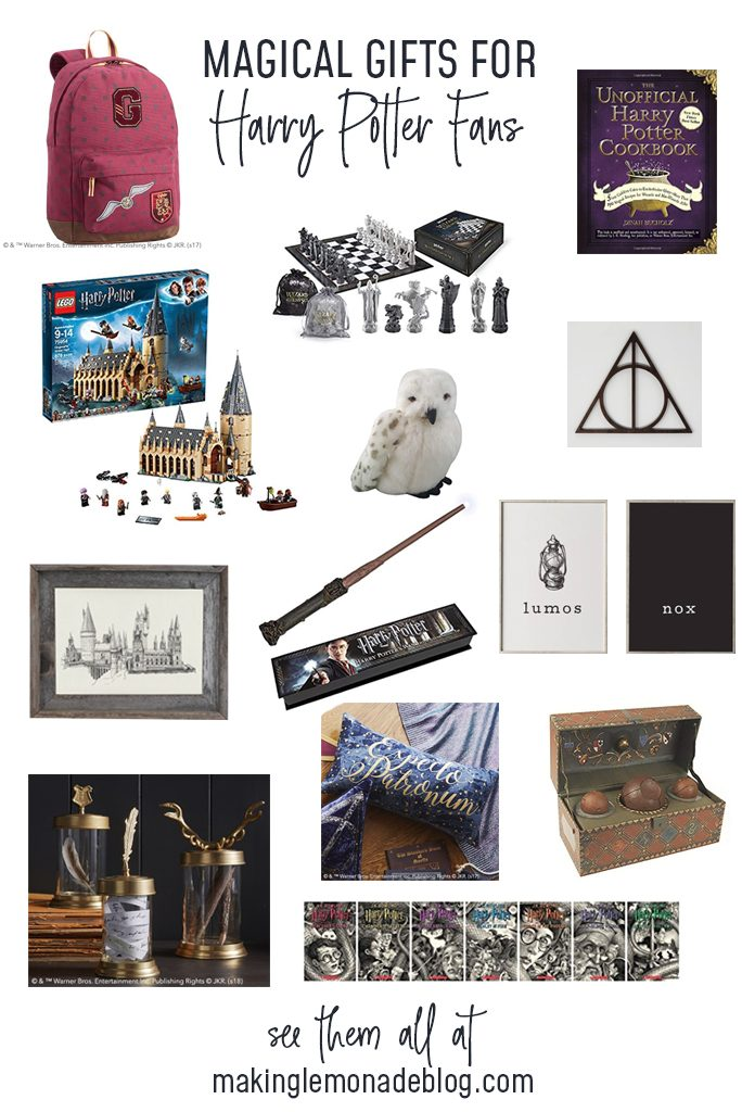 gifts ideas for Harry Potter fans collage