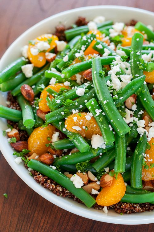 Green bean salad quinoa clementine with maple citrus dressing