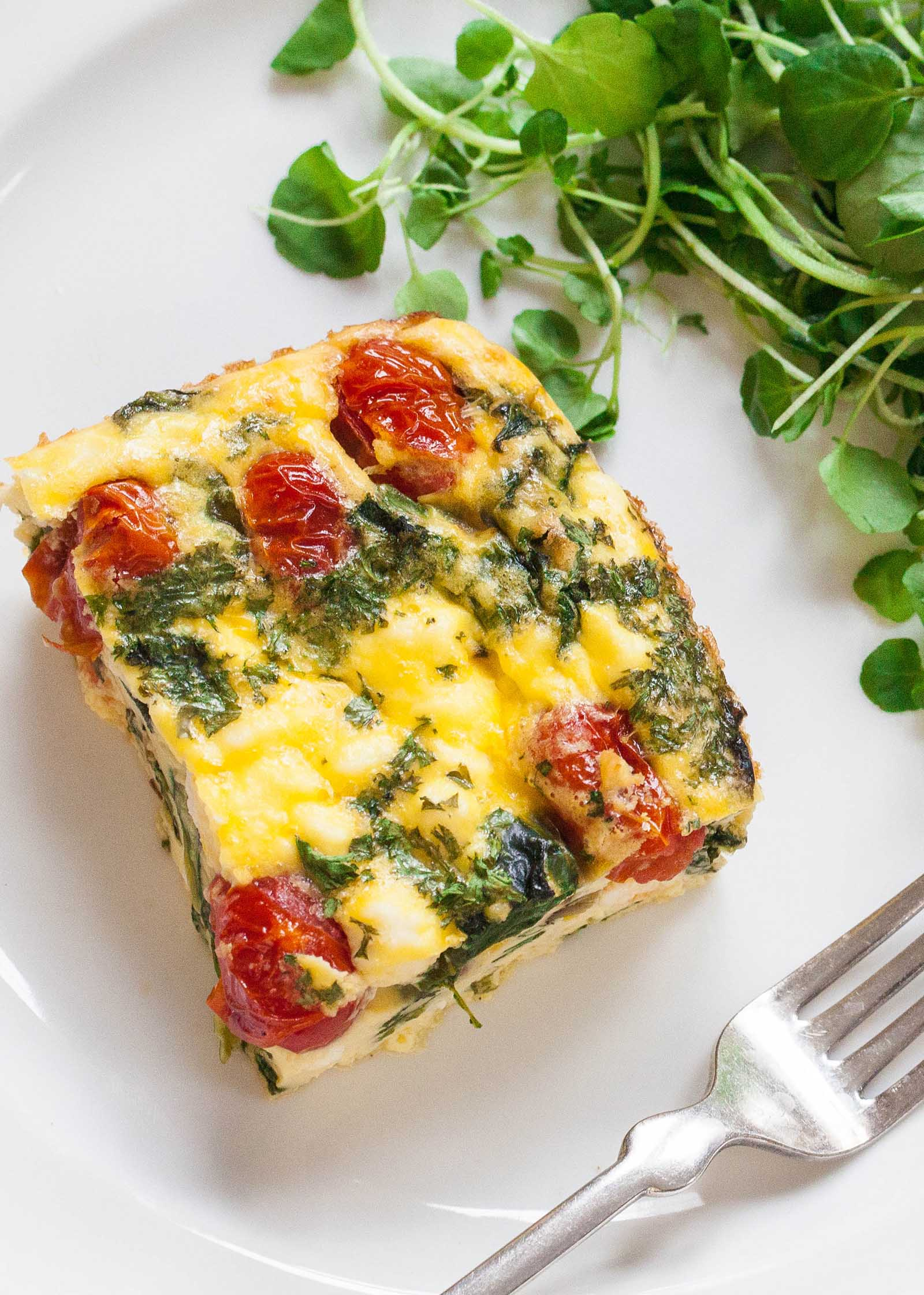 Frittata square on a plate