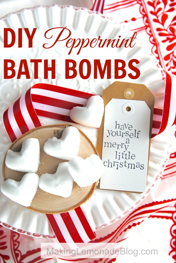 DIY Peppermint Bath Bombs with ribbon