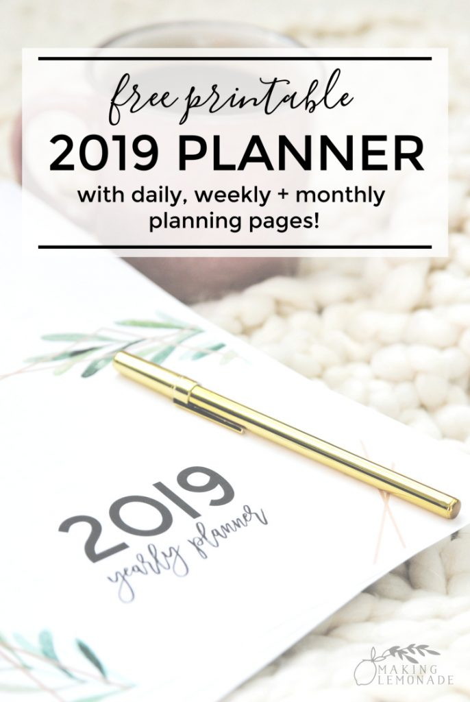 free printable planner for 2019 with pen