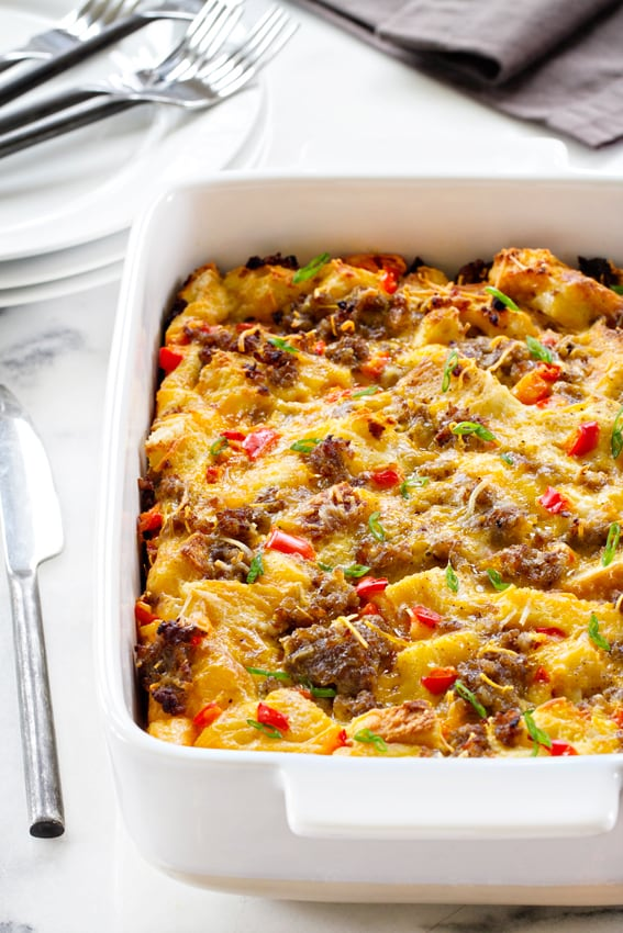 Yummy make ahead breakfast casserole for Christmas morning