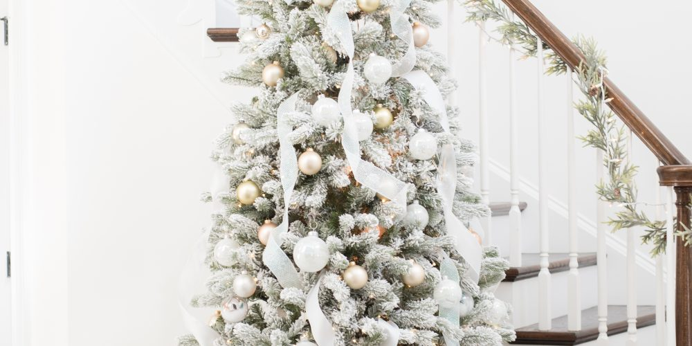 Beautiful Flocked Gold and Silver Christmas Tree