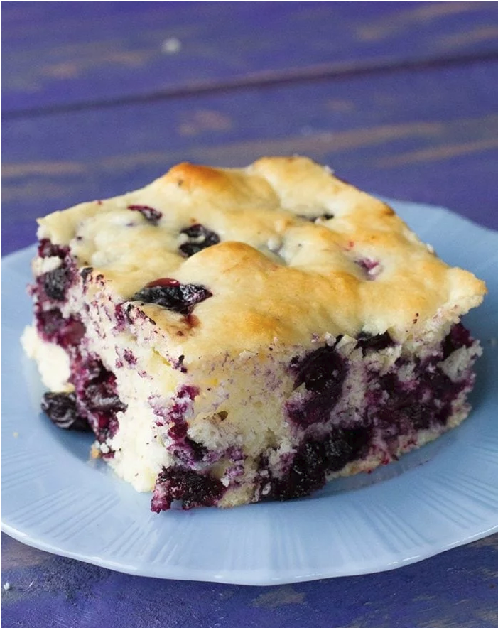 Yummy make ahead lemon and blueberry breakfast cake for Christmas morning