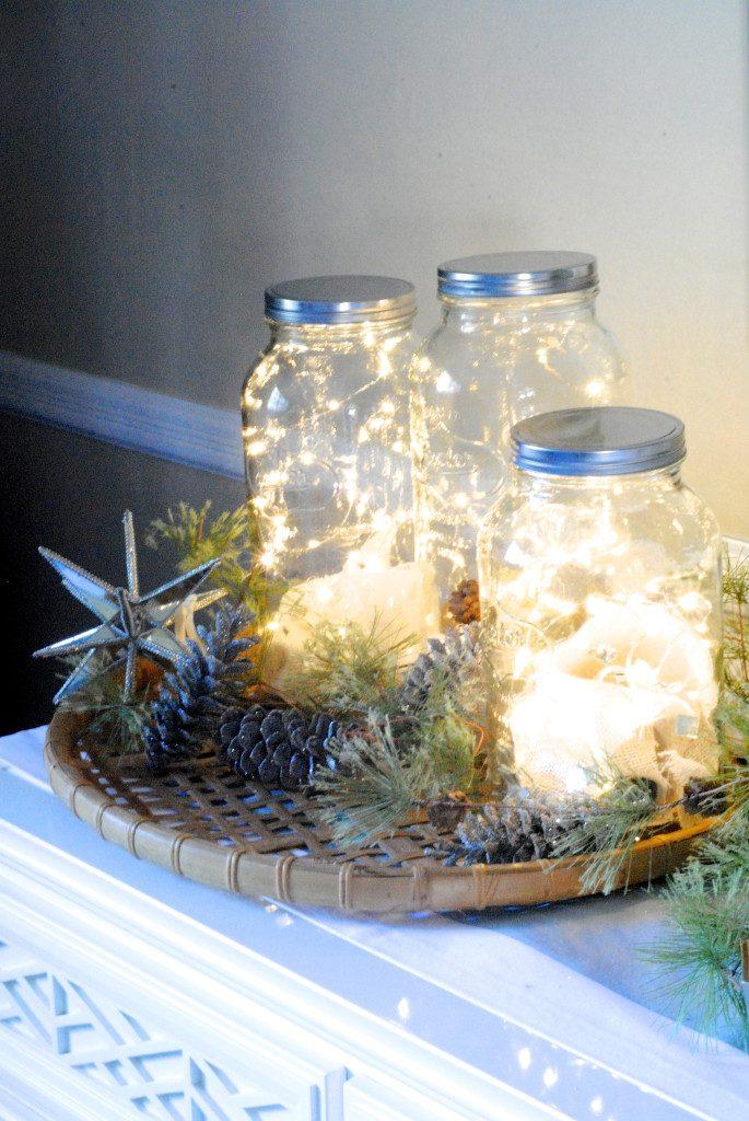 fairy lights in mason jars