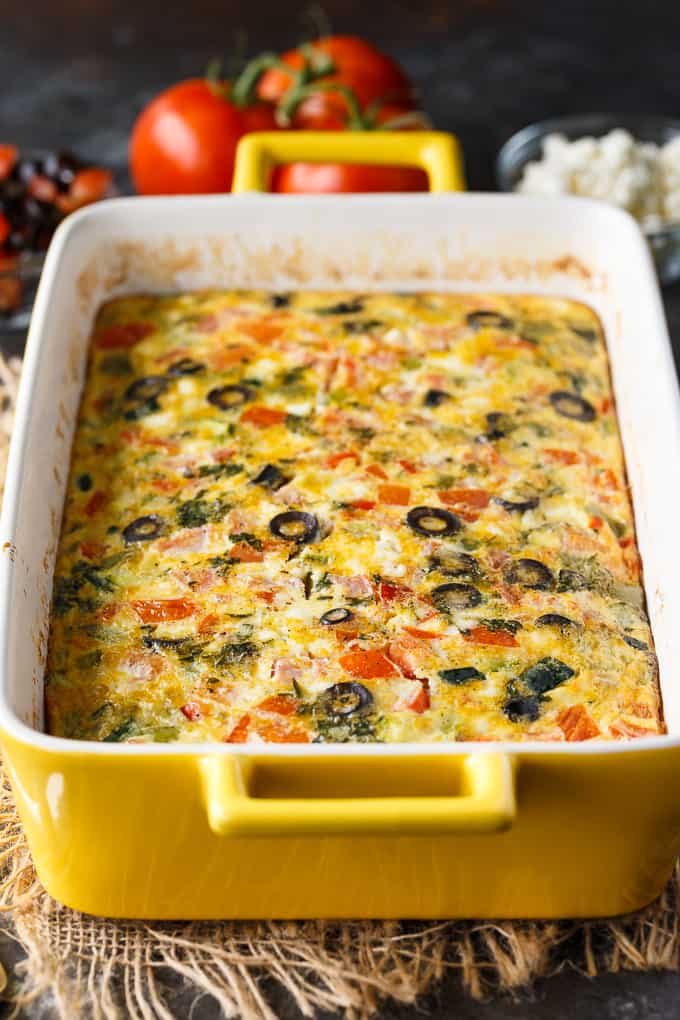 Yummy make ahead mediterranean brunch bake for Christmas morning