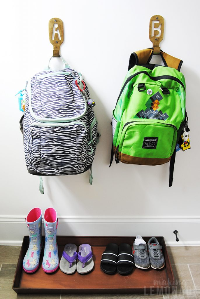 kids backpack organization drop zone