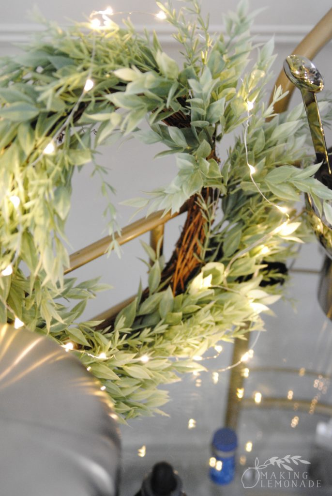 fairy lights on wreath